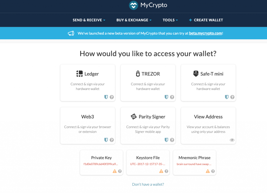 MyCrypto a free open source wallet for Ethereum and Ethereum tokens