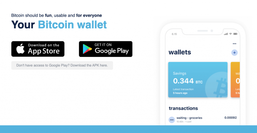 Blue wallet for Bitcoin