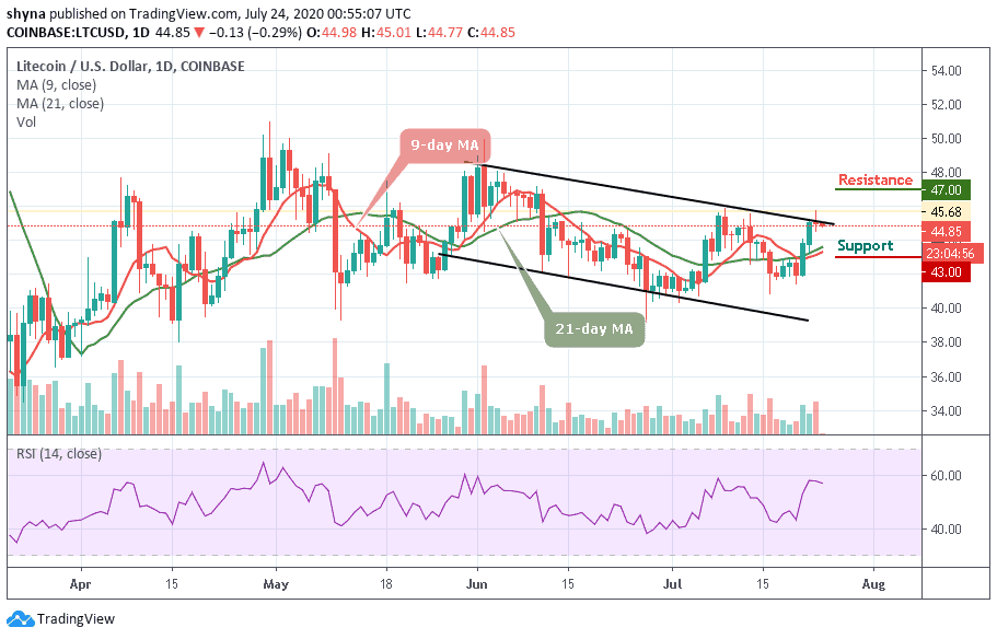 Litecoin Price Prediction: LTC/USD Takes a Moderate Plunge; Deals at $44