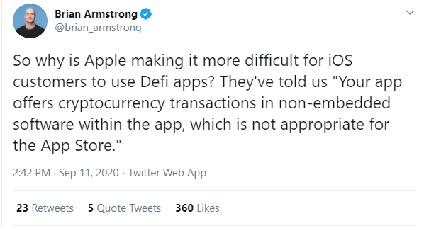 Coinbase Chief Calls Out App Store for Anti-Crypto Policies