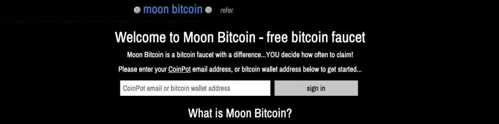 Moon Bitcoin claim your faucet earnings when you want