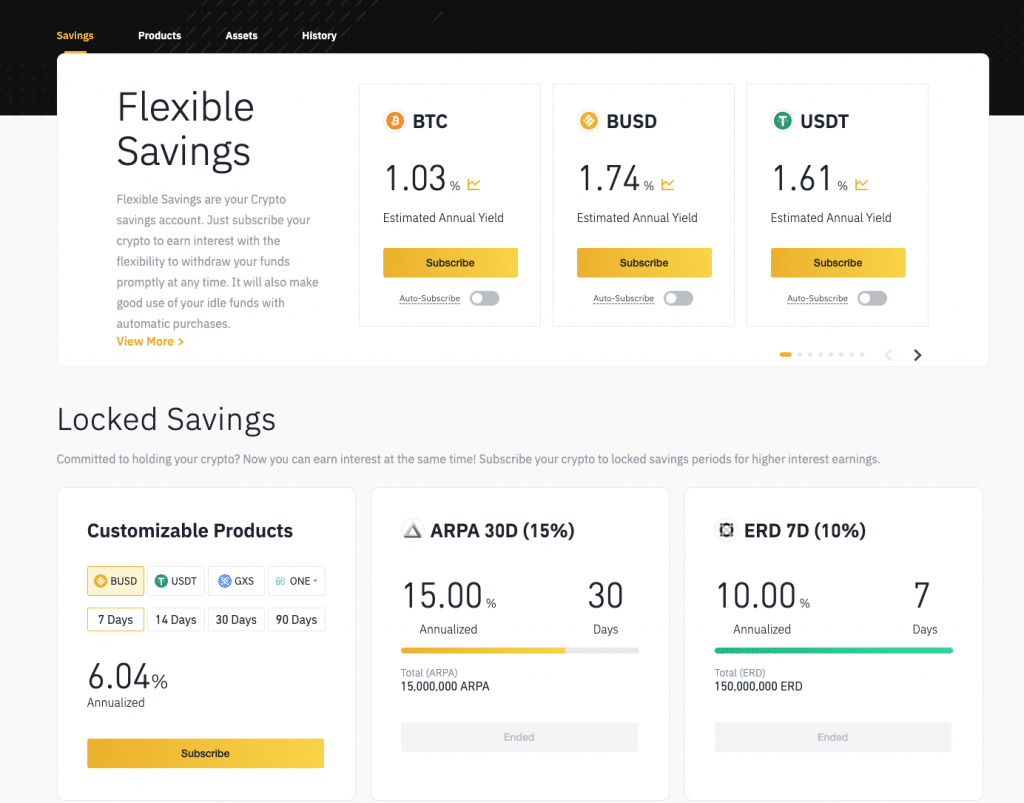 Binance lending/savings account options