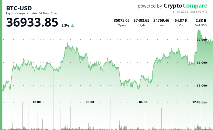 24 hours chart of the price of BTC