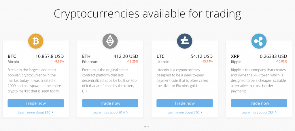Cryptocurrencies available for trading at PrimeXTB