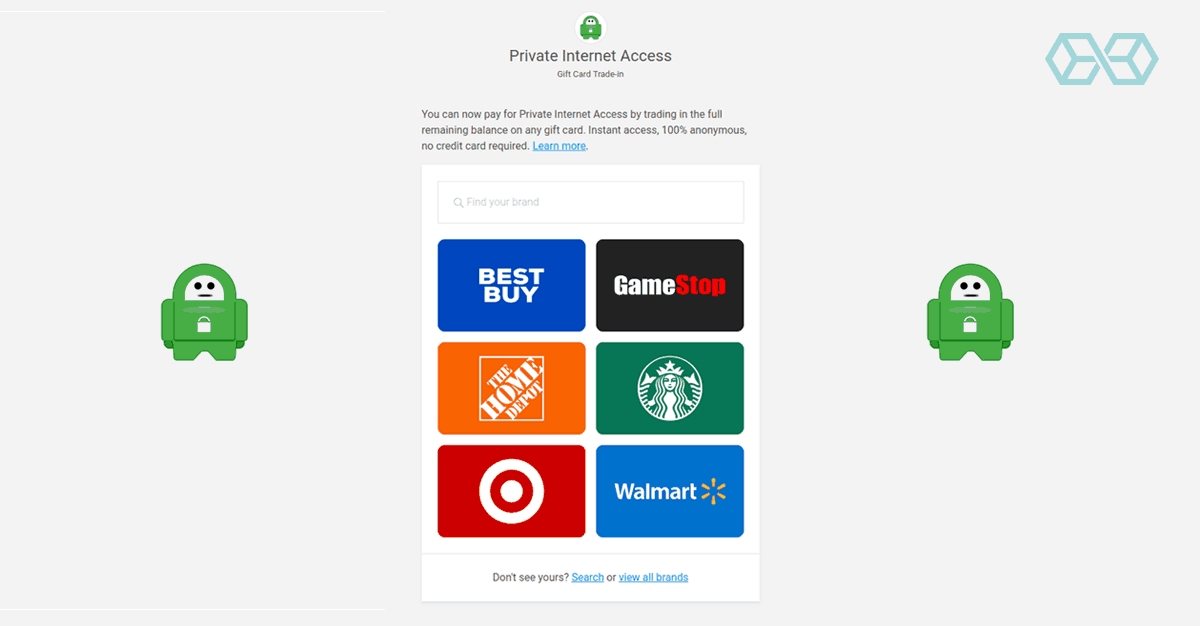 Gift cards from various stores to pay for your subscription