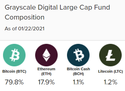 Grayscale Digital Large Cap fund weighting. Source: Grayscale