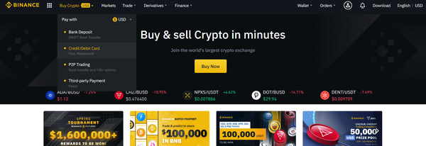 Buy & sell crypto in minutes buy now button.