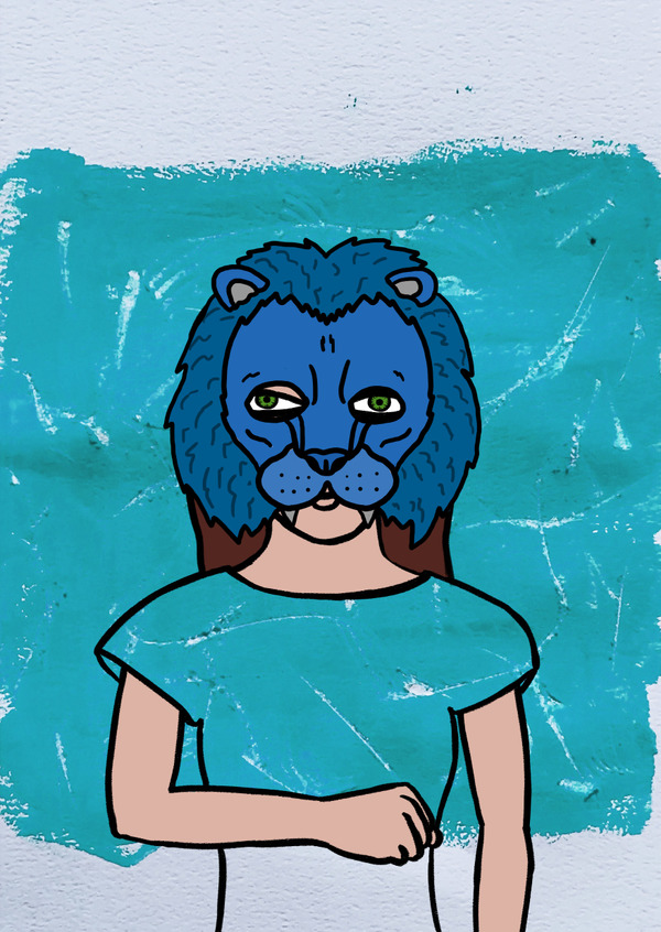 Painting of a person with a blue lion mask.