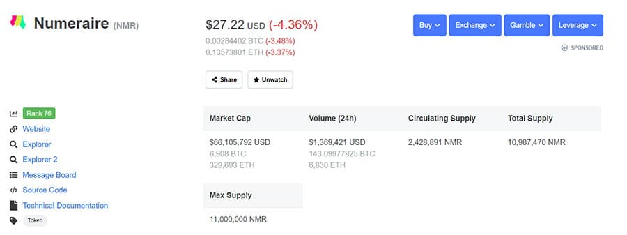 NMR Coin Stats